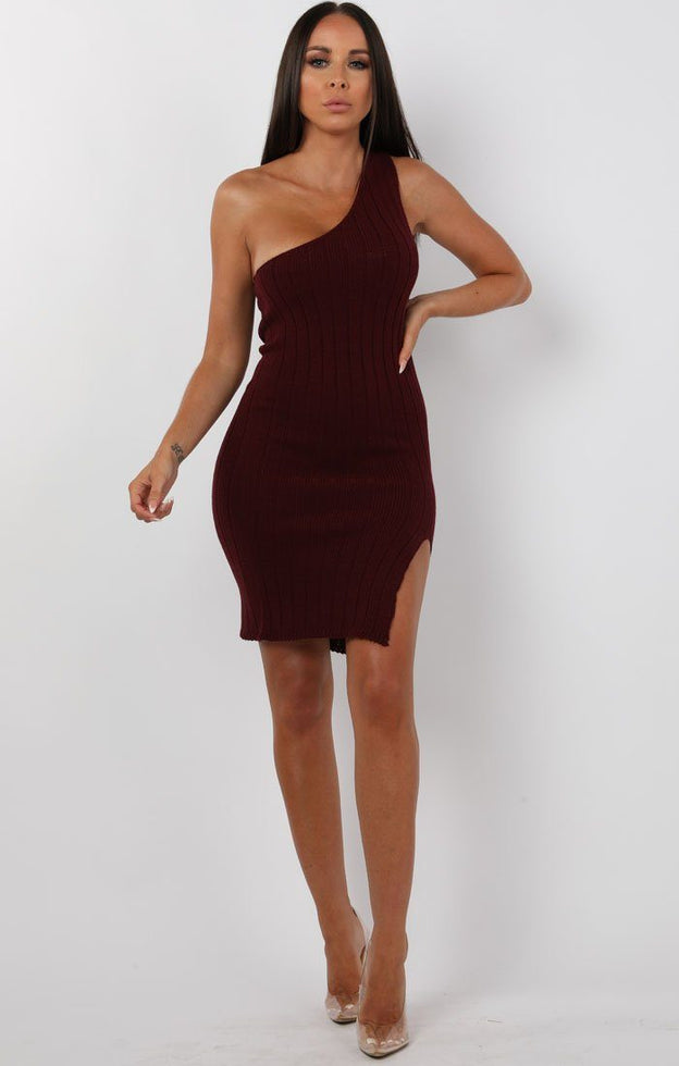 Wine-Knitted-One-Shoulder-Midi-Dress-Sorcha