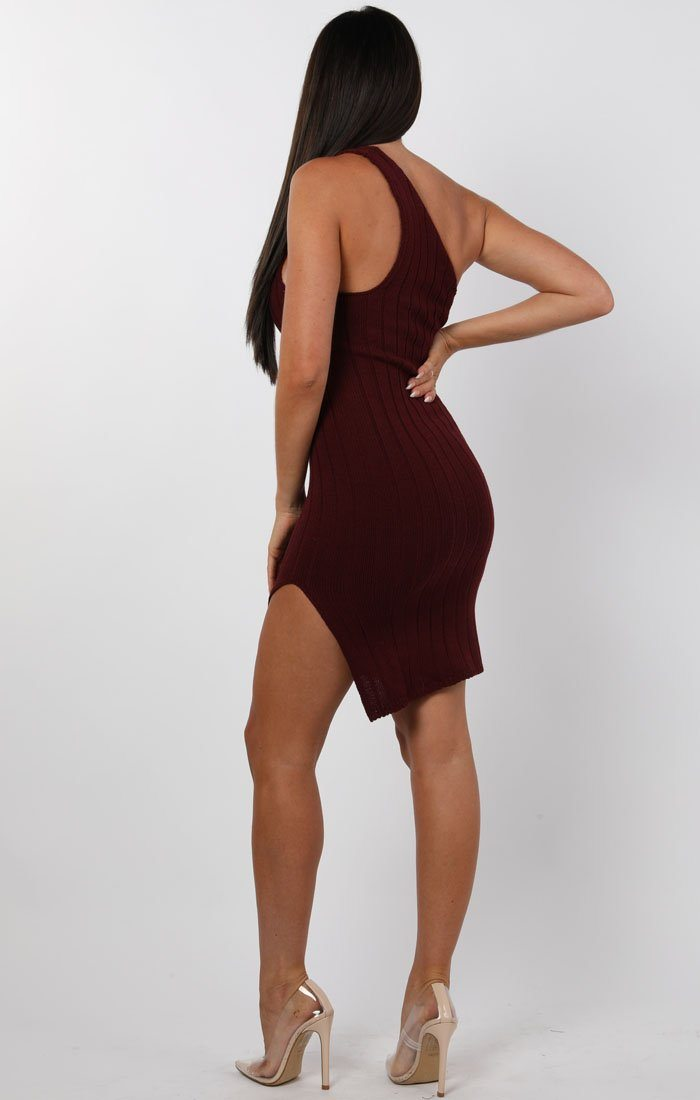 Wine Knitted One Shoulder Midi Dress - Sorcha