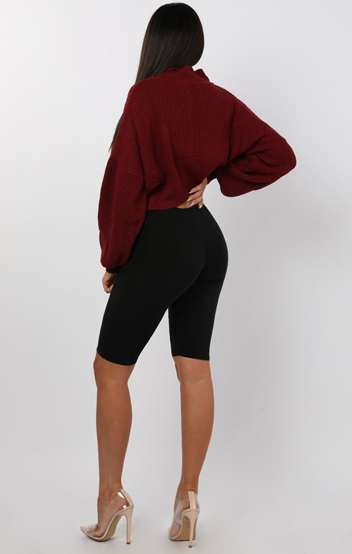 Wine Loose Fit Crop Knitted Jumper - Eden
