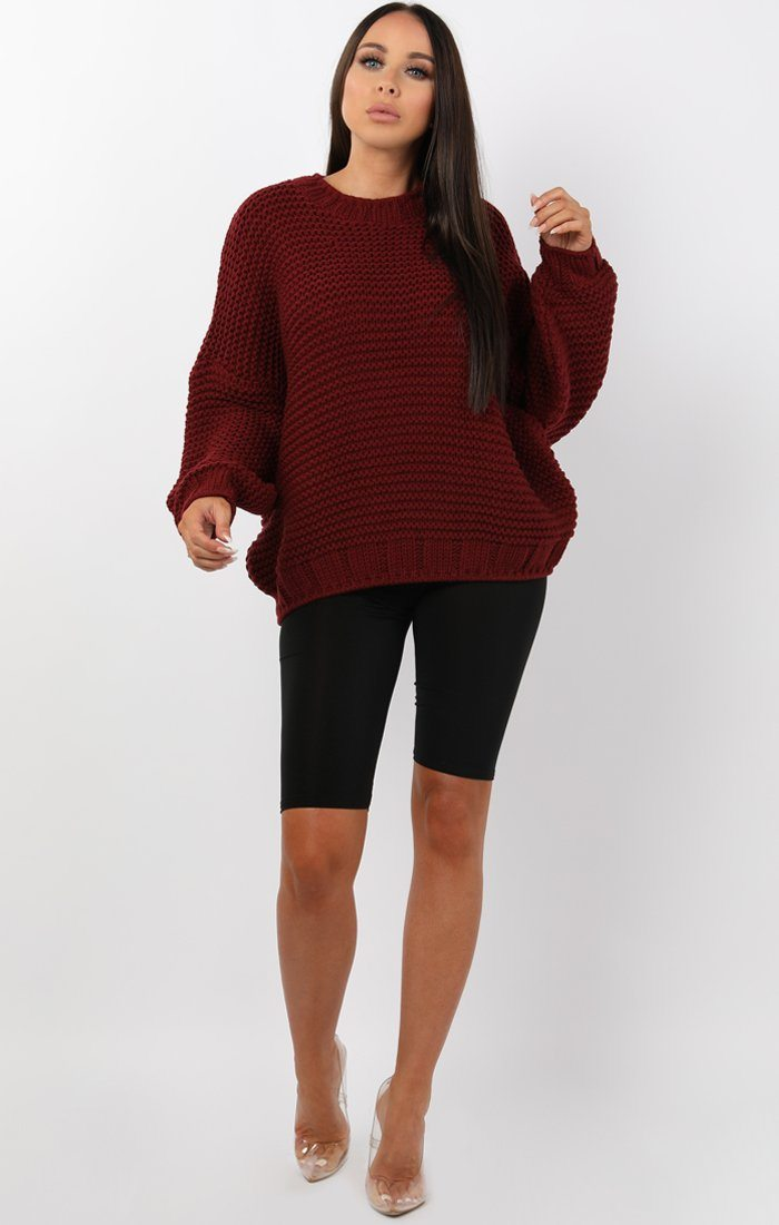 Wine Oversized Chunky Knit Jumper - Claire