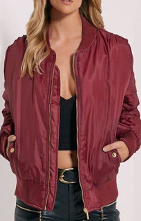 Wine Padded Bomber Jacket - leia