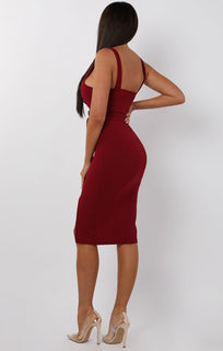 Wine Split Leg Belted Button Detail Midi Dress - Cassidy