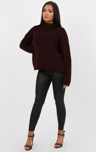 Wine Black Ribbed Turtleneck Jumper - Charlotte