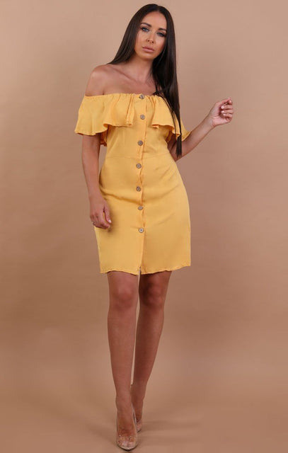 Yellow Barbot Button Up Tea Dress - Rebecca