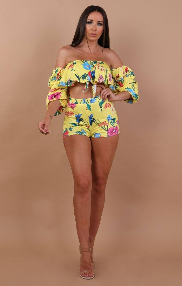 Yellow Floral Bardot Two Piece Co-ord Set - Hannah