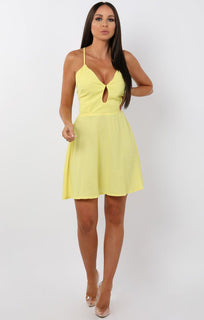 Yellow Lace Up Back Dress - Delta