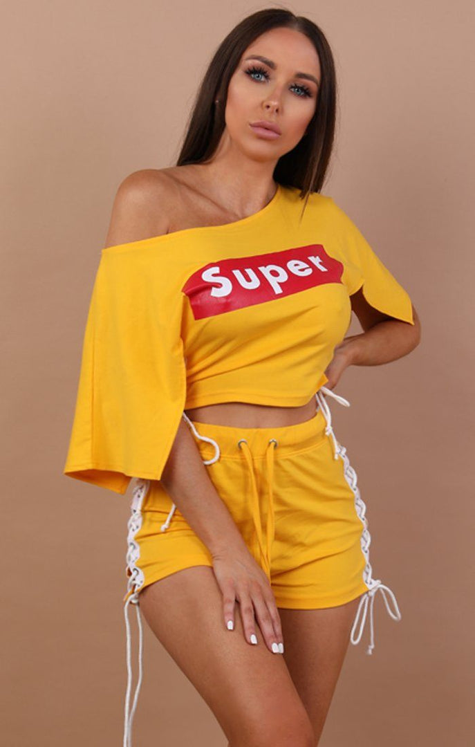 Yellow-Lace-Up-Super-Two-Piece-Set-Sunny