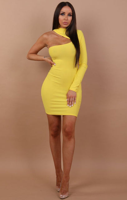 One Shoulder High Neck Mini Dress - Talia
