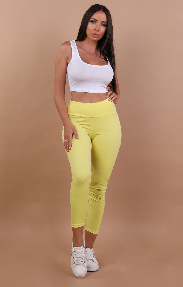 Yellow Ruched Back Leggings - Kathy