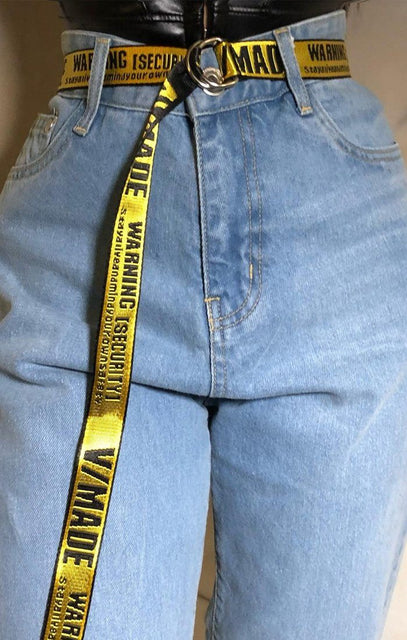 Yellow Text D-Ring Belt - Hallie