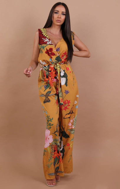 Yellow floral Plunge Belted Jumpsuit - Oriana