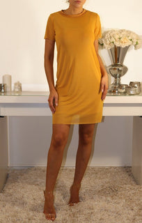 MUSTARD MESH OVERLAY T-SHIRT DRESS