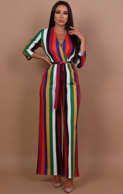 Rainbow Wide Leg Stripe Jumpsuit - Terri
