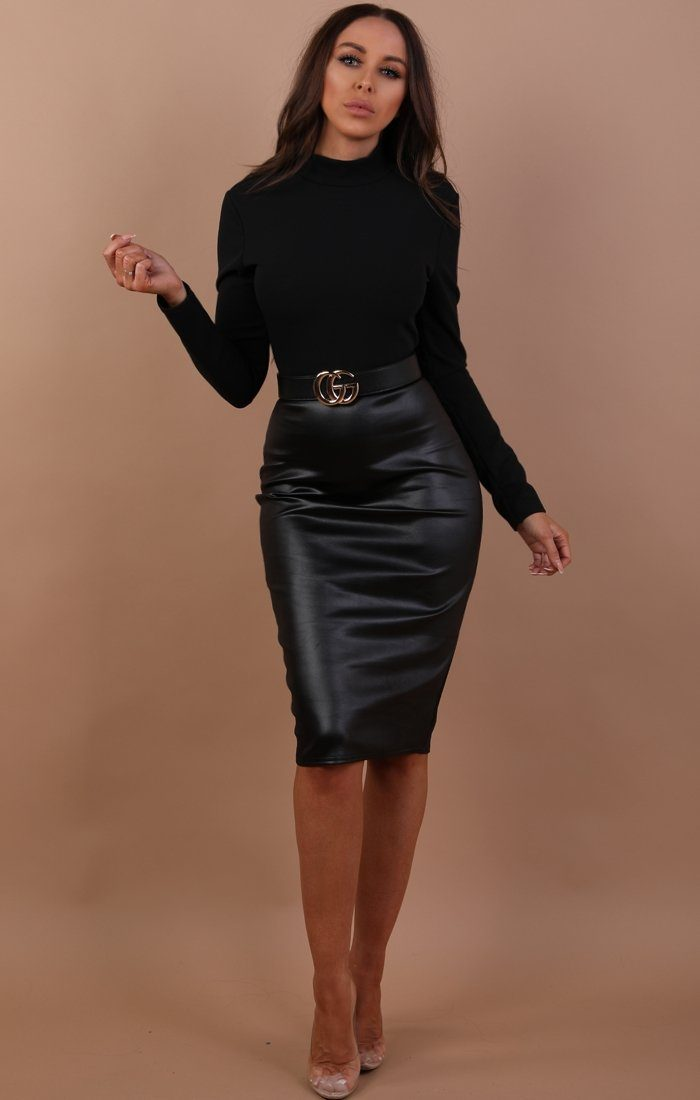 Black Pu High Waist Skirt Midi Dress - Mila