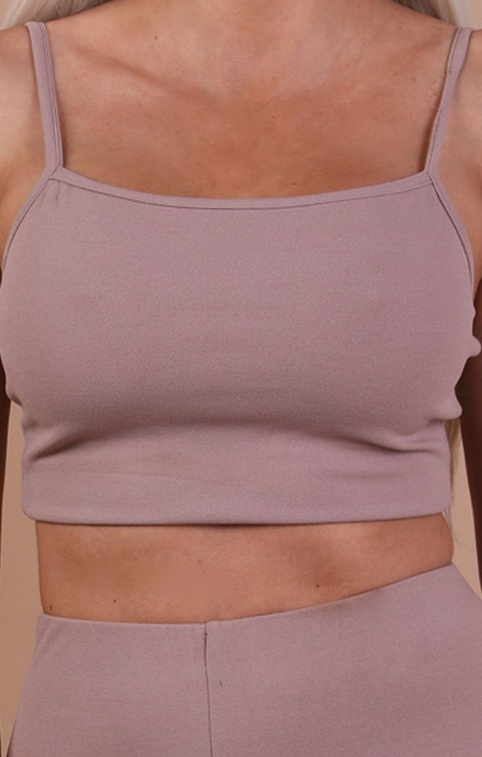 Taupe Cami Basic Crop Top – Mollie