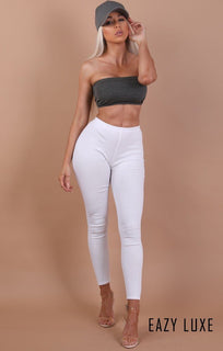 Charcoal Basic Bandeau Crop Top