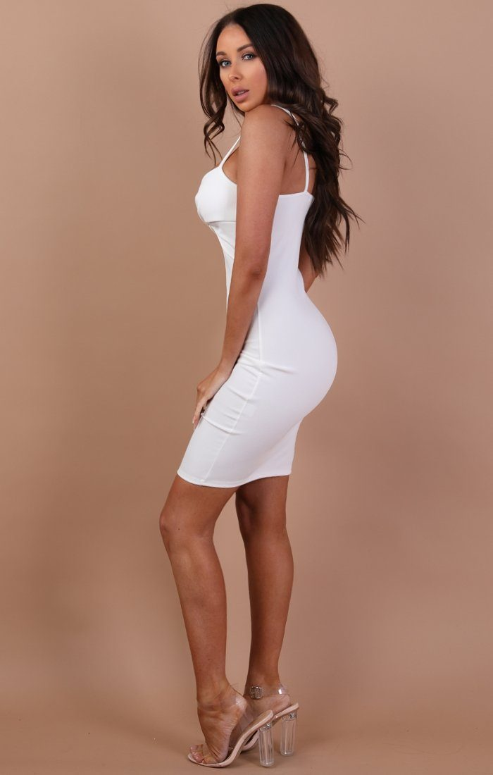 White Front Twist Bodycon Dress – Lidia