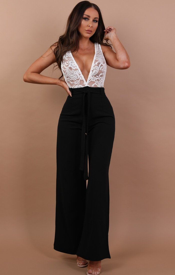 Black Jumpsuit With White Lace - Louella sale Femme Luxe 6