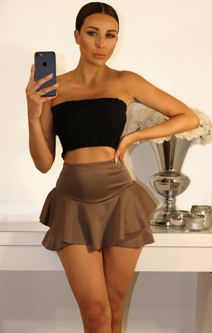 MOCHA LAYERED FRILL MINI SKIRT SHORTS