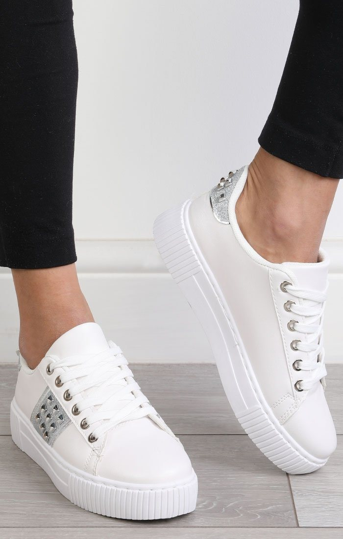 White Sparkle Studded Trainers - Safiya