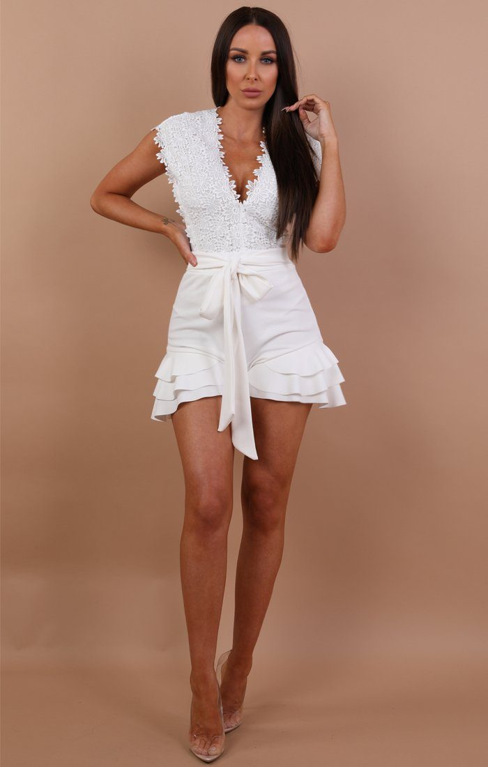 White Floral Embroidery Bodysuit - Brandy