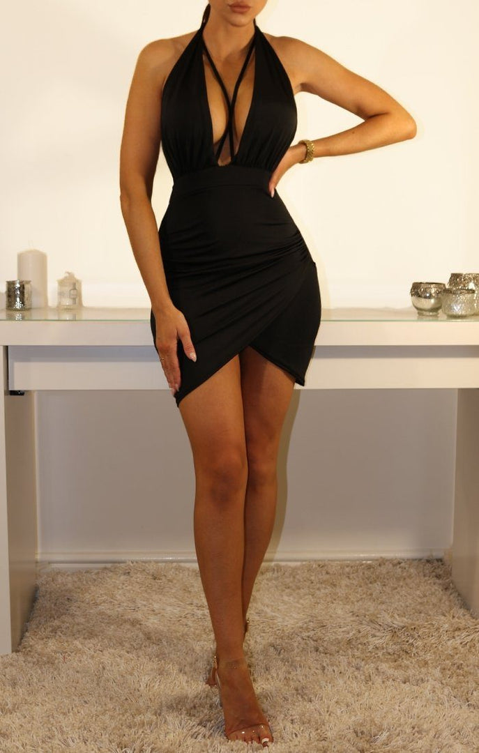 BLACK SLINKY PLUNGE HALTERNECK MINI DRESS