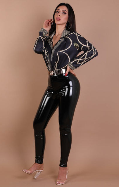 Black And Gold Scarf Print Shirt Bodysuit - Erin