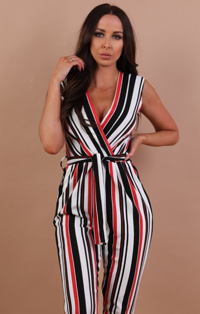 Red Multicolour Stripe Belted Jumpsuit - Chlo