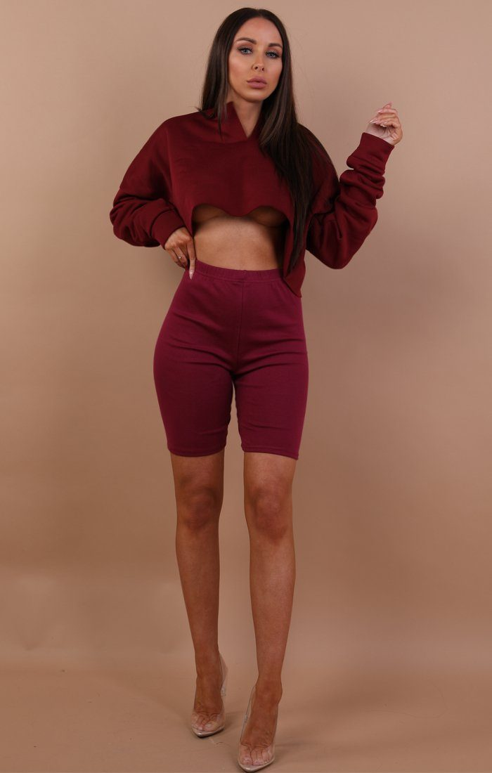 Wine Cropped Basic Leggings - Roxanne