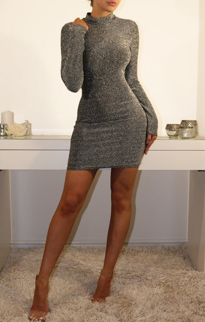 Silver Glittering Bodycon Mini Dress