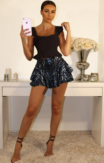 Navy Sequin Frill High Waisted Shorts