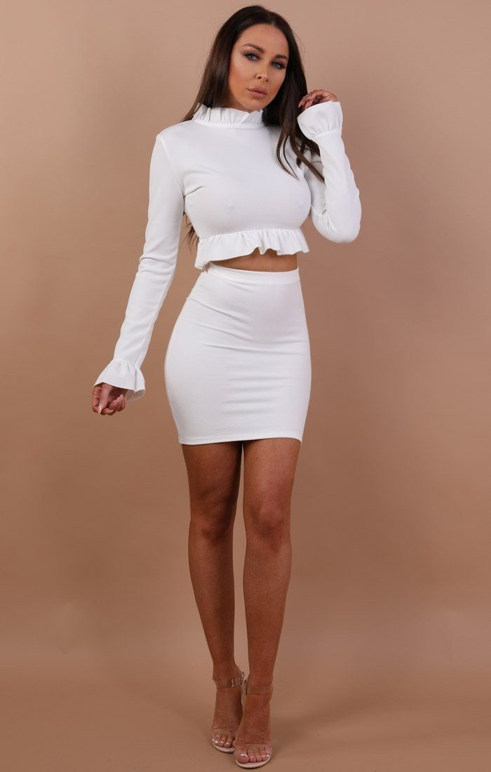 White Frill Detail Long Sleeve Crop Top - Safia