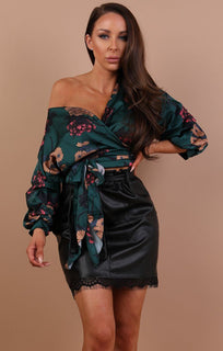 Green-Floral-Satin-Ruched-Sleeves-Wrap-Top-Kelly