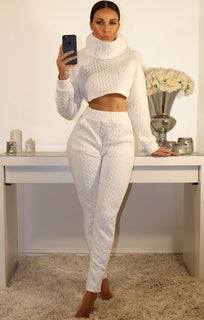 White High Neck Luxe Special Loungewear Set