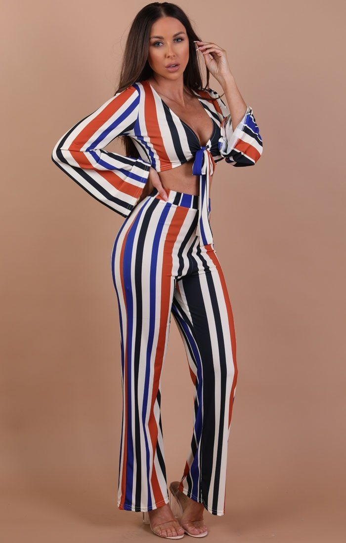 Blue and Orange Striped Print Front Tie Two Piece Set