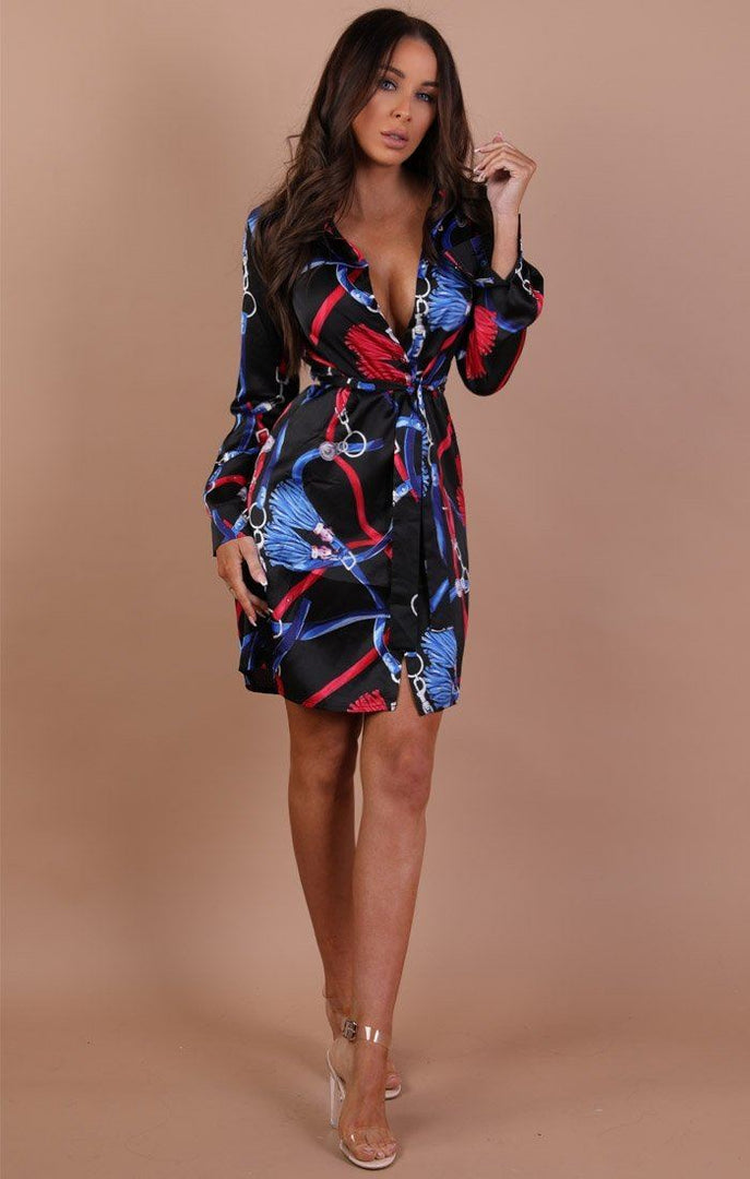 Black-Red-and-Blue-Scarf-Print-shirt-dress-Kayleigh