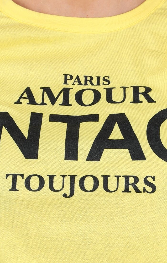 Yellow Vintage Slogan T-shirt