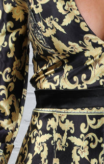 Black And Gold Satin Baroque Print Jumpsuit - Carly