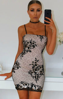 BLACK SEQUIN LACE MIX BODYCON MINI DRESS