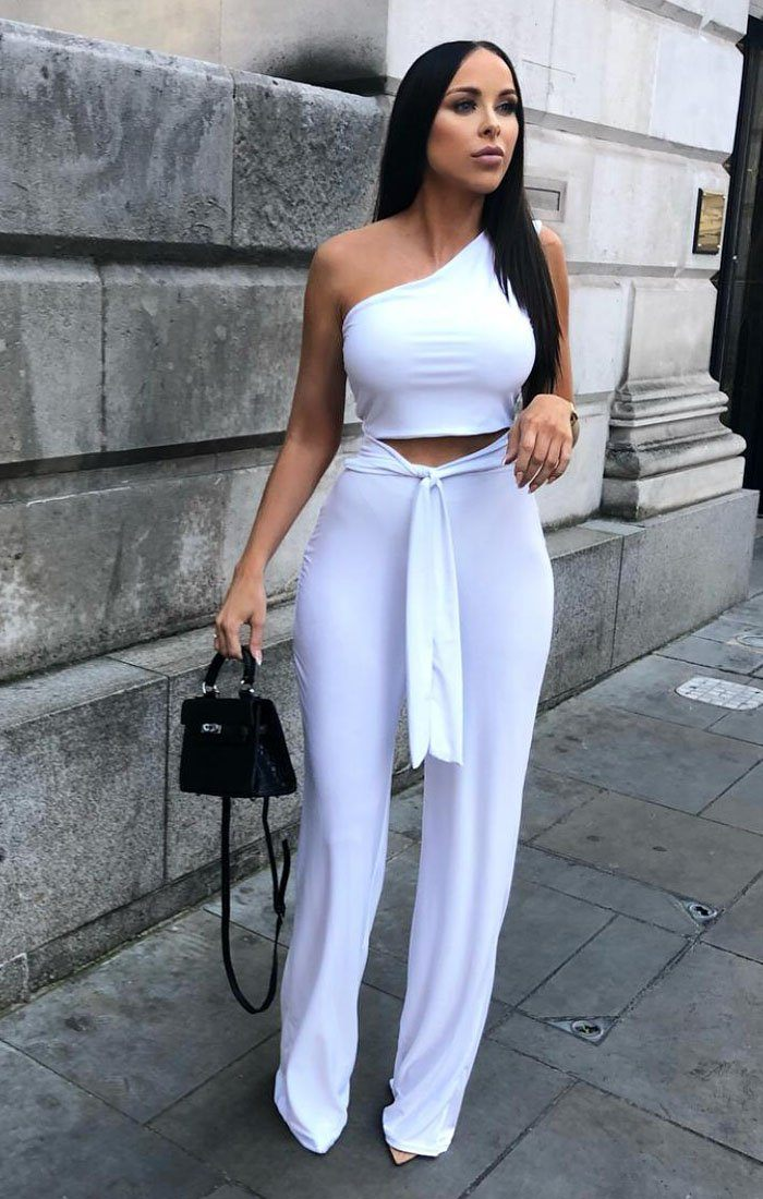 470a52a06257 White Tie Front One Shoulder Jumpsuit - Heather