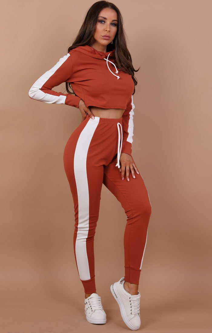 e08c2588c490 Rust With White Stripe Lounge Wear Set - Lexi