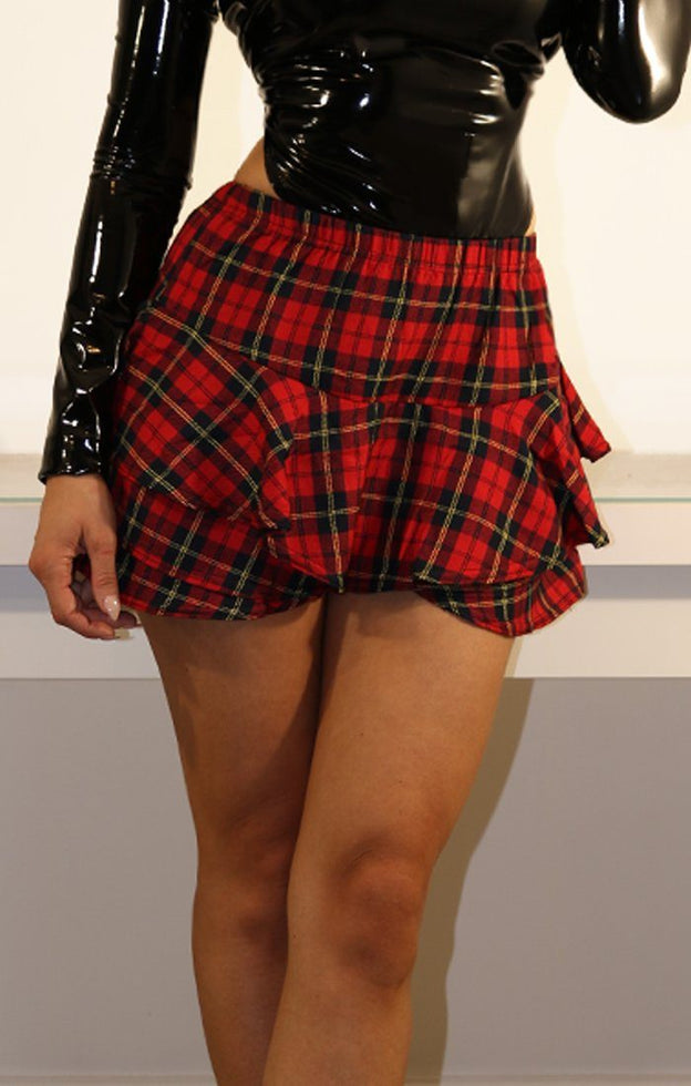 RED TARTAN LAYERED FRILL MINI SKIRT SHORTS