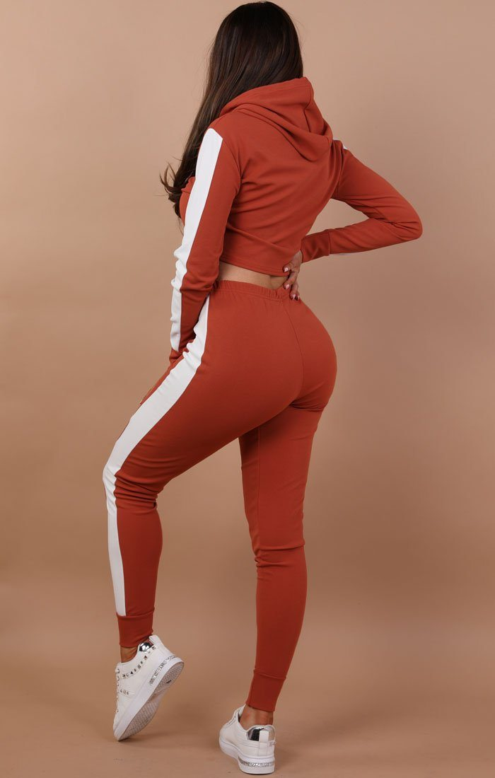 Rust With White Stripe Lounge Wear Set - Lexi