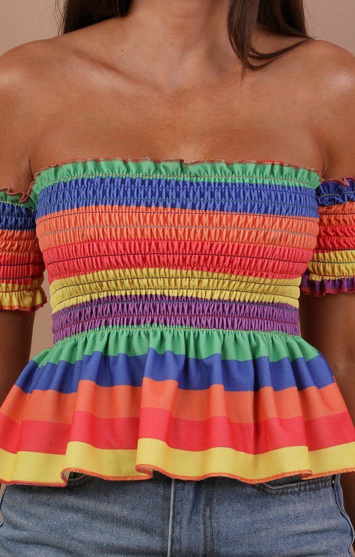 Rainbow Ruched Frill Detail Crop Top - Stephani