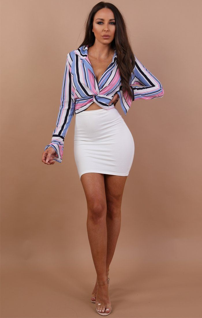 Pink Multi Stripe Front Knot Crop Top - Camila