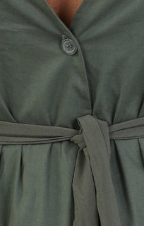 Khaki Wrap Over Top with Fare Sleeves – Maisie