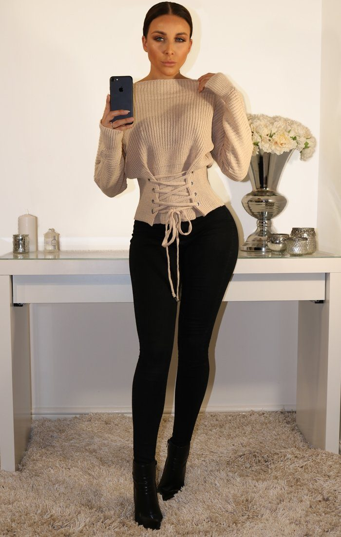 Stone Corset Front Knitted Jumper