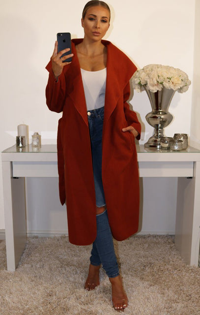 Rust Waterfall Duster Belted Long Coat