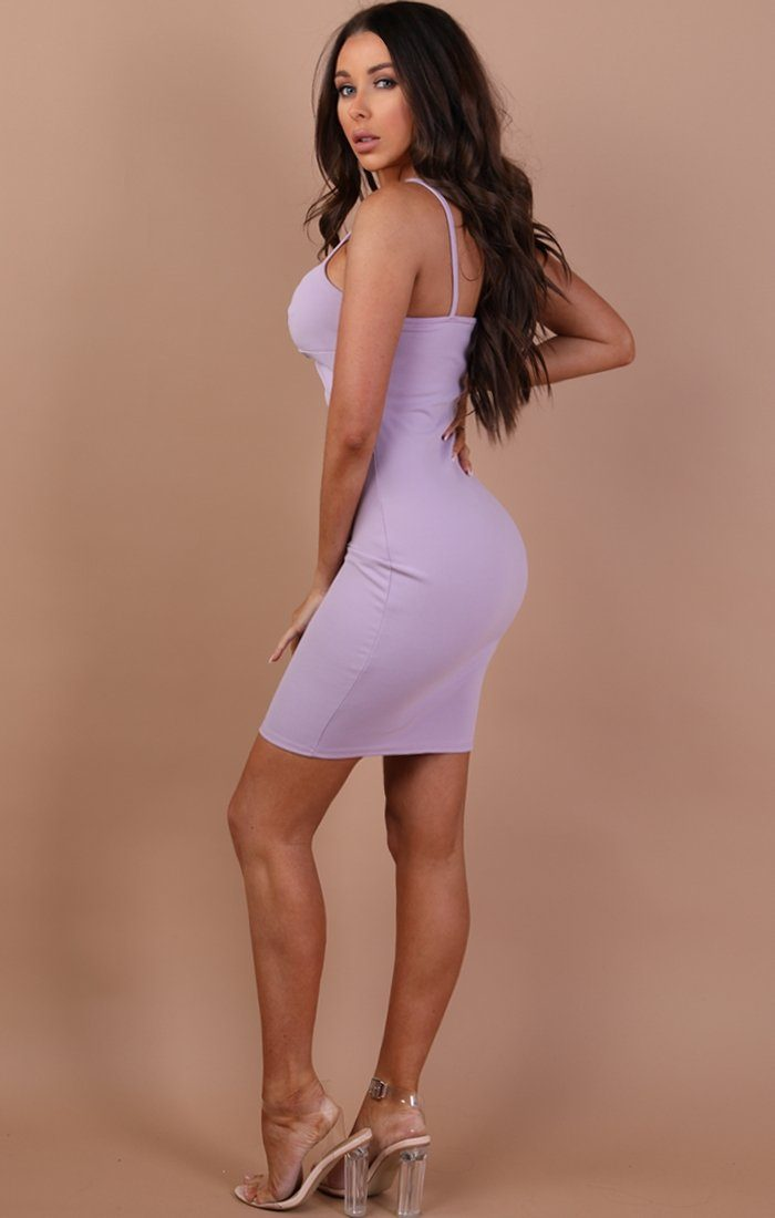 Lilac Front Twist Bodycon Dress – Lidia