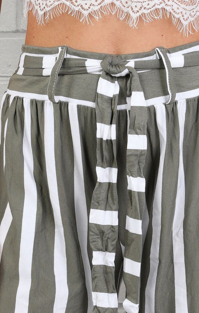 Khaki & White High Waist Stripe Wide Leg Trousers - Lia